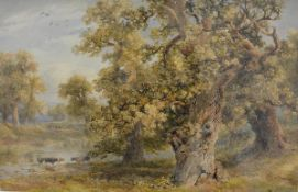 William Bennett R.I. (1811-1871), Cattle Watering in Windsor Great Park, signed lower right,