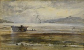 Attributed to William McTaggart R.S.A., R.S.W. (Scottish 1835-1910), A Beached Fishing Boat, a Steam