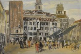 James Miller R.S.A., R.S.W., (Scottish 1893-1987), Piazza Santa Margarita, Venice, signed, titled in