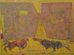 "•Sir Robin Philipson R.A., P.R.S.A., R.S.W. (Scottish, 1916-1992), ""Cockfight"", oil on canvas. 91."