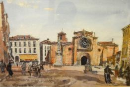 James Miller R.S.A., R.S.W., (Scottish 1893-1987), Plaza Mayor, Avila (Spain), signed and inscribed,