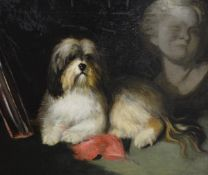 """Attributed to Maud Earl (British, 1864-1943), """"Terrier and Bust"""", unsigned, oil on canvas, bearing"""