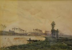 Tom Scott R.S.A., R.S.W. (Scottish, 1854-1927), On a River in France, signed and dated (18)96,