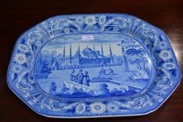 "A J & W Ridgway Ottoman Series blue and white meat plate ""Mosque of Sultan Achmet"", c. 1830. 48cm"