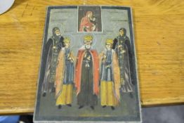 Russian School, 19th Century, an icon of five saints, each named and depicted beneath a vignette