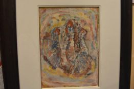 """Attributed to Duncan Grant (1885-1978), """"Chickens no. 2"""", watercolour, framed. 36cm by 26cm"""
