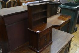 A miniature oak dresser in George III style, the rack with moulded cornice above a base with