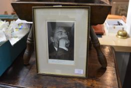 Dimitri Shostakovich, a black and white portrait photograph by Isearsky, signed in ink, framed.