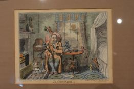 """After George Cruikshank, a pair of coloured engravings, """"Indigestion"""" and """"Jealousy"""", each published"""