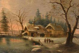 Edouard Boehm (Austrian, 1830-90), Figures by a Riverside Cottage in a Winter Landscape, signed