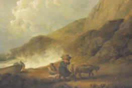 Attributed to George Morland (British, 1763-1804), Bringing in the Catch, signed lower right, oil on