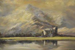 Prudence Turner (1930-2007), Kilchurn Castle, signed lower left, inscribed verso, oil on canvas,