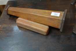 Two early/mid 20th century oak kaleidoscopes, one of tapering hexagonal form (defective), the
