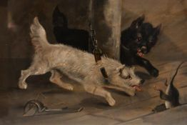 English School, c. 1900, Thwarted - Terriers and a Rat, unsigned, oil on canvas, framed. 22cm by