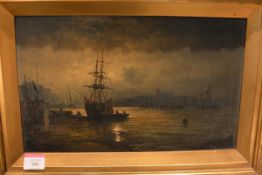 English School, 19th Century, Moonlit Harbour Scene, oil on canvas, in a gilt-composition frame.