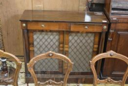 A Regency rosewood chiffonier, the rectangular top (lacking superstructure) above a frieze drawer
