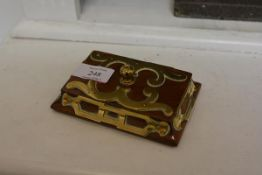 A mid-19th century brass-mounted walnut paperweight, of tapering rectangular form. Length 13cm