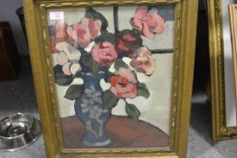 Manner of Samuel Peploe, Still Life of Roses, oil on canvas, unsigned, bearing partial label