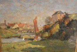 "Wilson Cowan (Scottish, fl. 1900), Eyemouth, signed and inscribed ""Eyemouth Sept. 1912"", oil on"