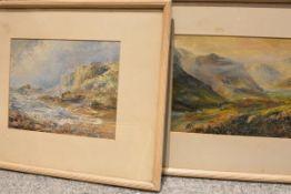 Andrew Douglas (Scottish, 1870-1935), A Coastal Scene, Isle of Man and A Misty Highland Landscape, a