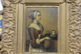 Continental School, A Serving Maid, oil on copper, in a gilt-composition frame. 9.5cm by 7cm