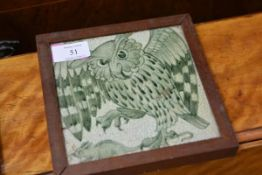A William de Morgan pottery tile, c. 1900, Owl and Mouse, decorated in green, Sands End Pottery mark