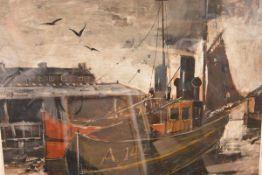 Torquil McLeod (Scottish, fl. 1959-65), Leaving Harbour, Aberdeen, signed, oil on board, framed.