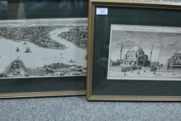 """A pair of German engravings of Constantinople, probably 18th century, """"Aussicht der Kirche St."""