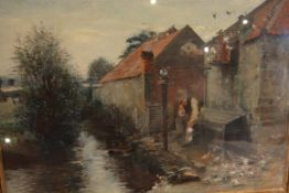 George Ogilvy Reid R.S.A. (Scottish, 1851-1928), The Dovecot, signed lower left, oil on board,