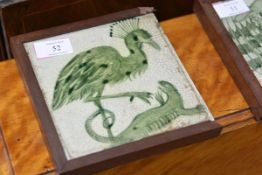 A William de Morgan pottery tile, c. 1900, Peacock and Lizard, decorated in green, Sands End Pottery