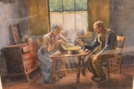 John Patrick Downie R.S.W. (1871-1945), The Evening Repast, signed and dated 1905, watercolour. 46cm