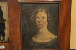 Portrait of a Lady, oil on copper, second quarter of the 19th century, in a period mahogany frame.