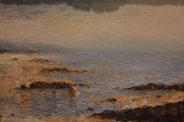 """John Ross (British, b. 1956), """"A Day by the Sea"""", signed lower left and dated (19)87, oil on canvas,"""