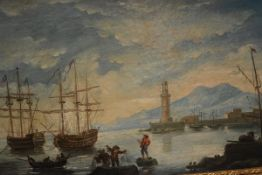 Continental School, c. 1800, Fishermen in a Harbour, unsigned, oil on canvas, in a gilt-