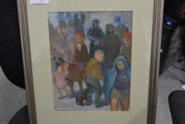 Moira Beaty (Scottish, 1922-2015), Street Scene, signed lower left, oil on board, framed, Open Eye