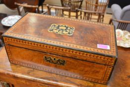 A mid-19th century Tunbridge-inlaid walnut writing slope, the cover further decorated with an inlaid