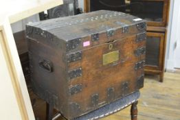 An early 19th century iron-bound oak silver chest, bearing makers brass label for S.H. & D. Gass,