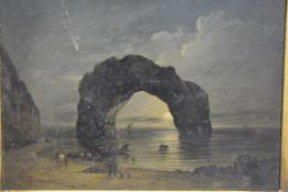 """English School, 19th Century, """"Arched Rock, Isle of Wight"""", oil on board, inscribed verso and"""