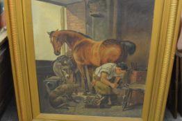 Albert Dunington (1860-1928), The Village Blacksmith, signed lower right, oil on canvas, framed.