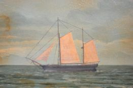 British Naive School, late 19th century, A Twin Masted Ship in Full Sail, oil on panel, framed. 38cm