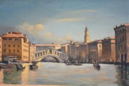 Sir Gerald Hugh Tyrwhitt-Wilson (Lord Berners) (British, 1883-1950), Rialto Bridge, Venice, signed