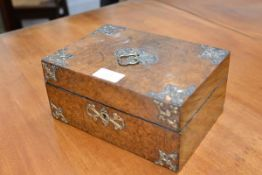 A mid-19th century gilt-brass mounted burr walnut jewellery box, of rectangular form, with pierced