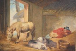 Manner of George Morland, Asleep in the Stable, oil on board, in a giltwood frame. 29cm by 40cm