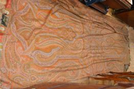 A woollen Paisley shawl, worked in orange, red, blue and green. Length 340cm, width 170cm