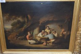 Russian School, c. 1800, Figures at a Tavern Table, unsigned, oil on canvas, in a gilt composition