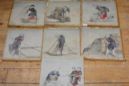 A set of seven Japanese watercolours, early 20th century, of women involved in the various stages of