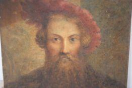 19th Century School, Portrait of a Renaissance Gentleman, watercolour on paper laid on panel, signed