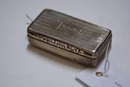A William IV silver snuff box, Thomas Shaw, Birmingham 1835, with engine turned cover and base,