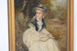 English School, late 19th century, Girl in a Floral Bonnet, oil on canvas, framed. 30cm by 24cm