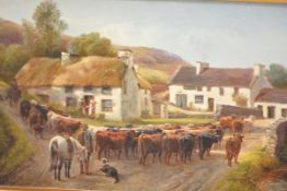 English School, 19th Century, Driving the Cattle, signed R. Watson and dated 1882, oil on canvas,
